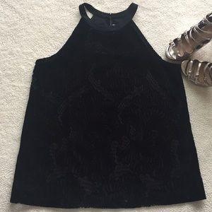 Ann Taylor LOFT Velvet Lace Halter Top